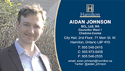 Hamilton City Councillor Aidan Johnson - Ward 1